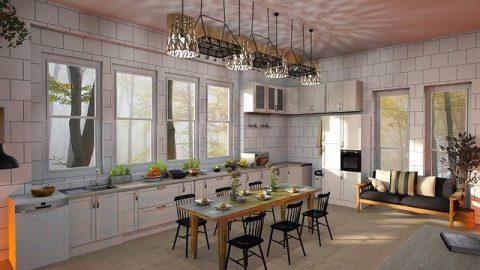 Keuken met wand en vloertegels